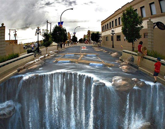 نقاشی 3 سه بعدی روی کف جاده و خیابان پیاده رو